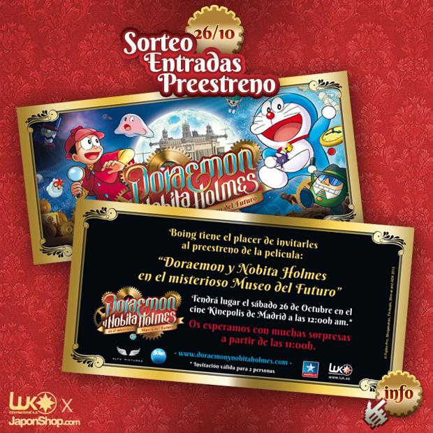 """JaponShop y Luk Internacional te invitamos al pre-estreno de """"Doraemon y Nobita Holmes en el misterioso Museo del Futuro"""""""