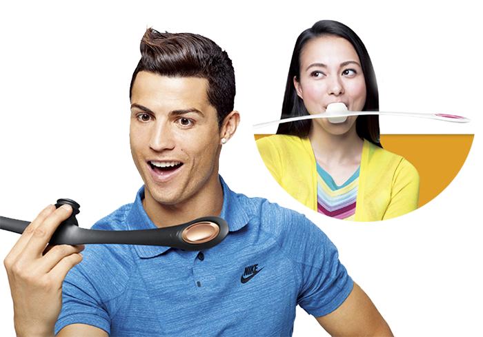 ¿Que extraño artefacto bucal anuncia Cristiano Ronaldo en Japón?