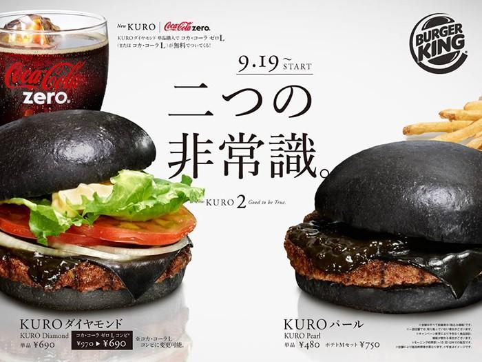 Burger King Japan: Nuevas Hamburguesas completamente negras...Hasta el Queso es negro!