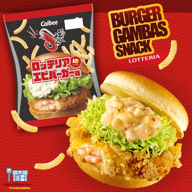 NOVEDAD en JaponShop.com! Snack Calbee Sabor Hamburguesa de Gambas de Lotteria