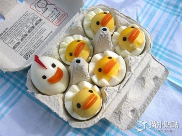 Como elaborar pollitos kawaii, con huevos cocidos!