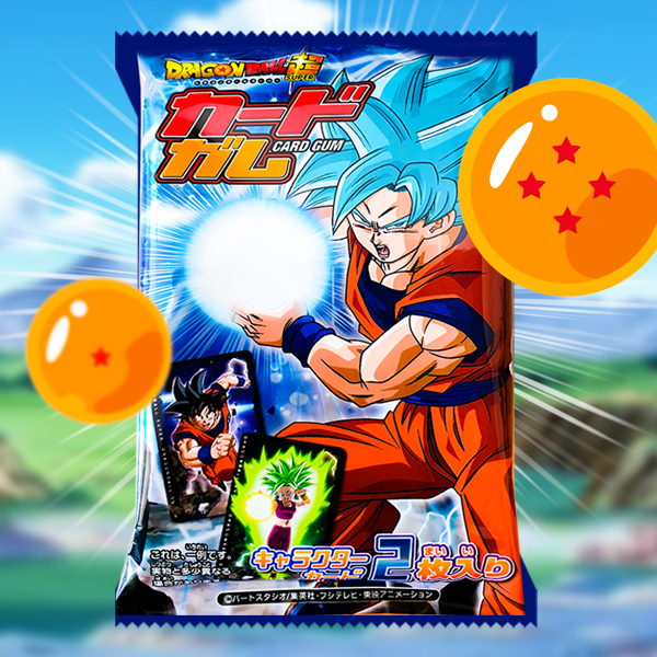 Chicle de Dragon Ball Super con 2 Cartas