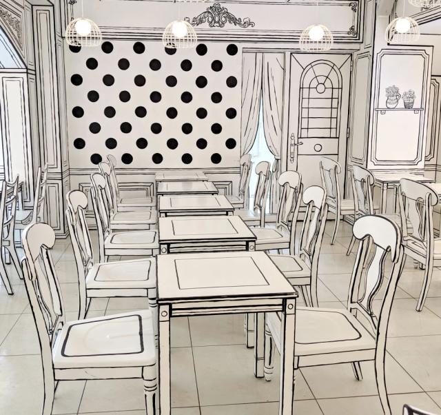 Cafe 2D el bar restaurante que luce como una ilustración